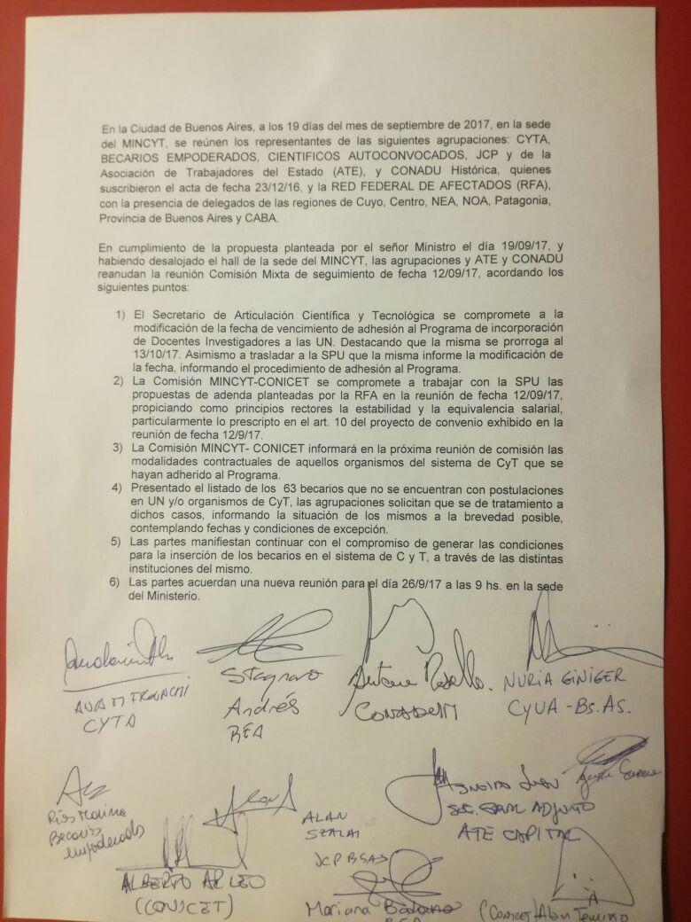 Acta firmada el pasado martes 19 de septiembre.