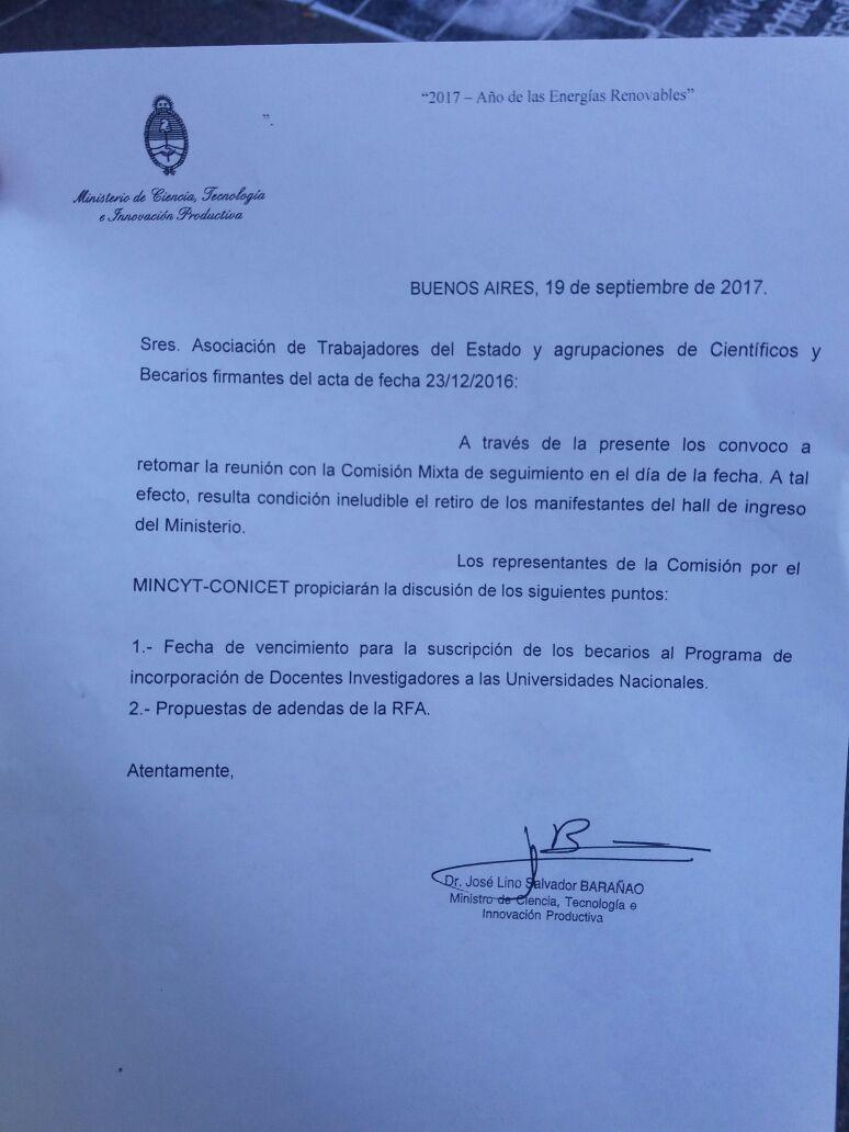 Convocatoria de Barañao a los investigadores para retomar el diálogo.