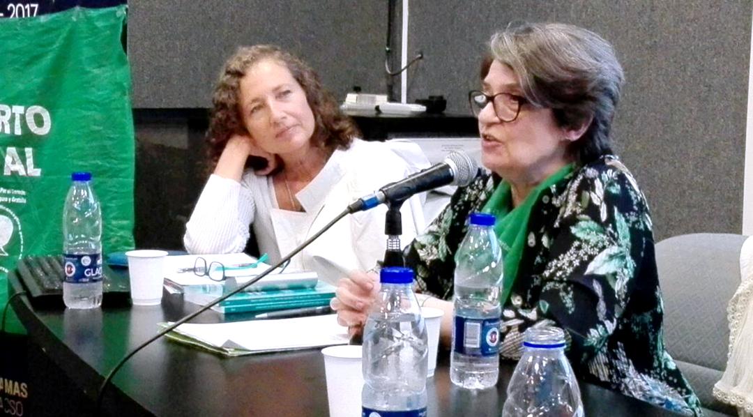 Entre las expositoras, estuvieron la Dra. Florencia Luna, coordinadora del área de Bioética de FLACSO (izq.); y Elsa Schvartzman, integrante de la Campaña Nacional por el Derecho al Aborto Legal, Seguro y Gratuito (der.).